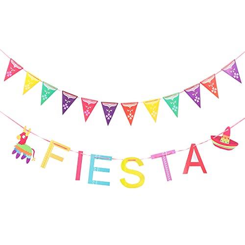 STOBOK 2 Piezas de Tema Mexicano Decorativo Guirnalda Fiesta Banner Colgante Ornamento Despedida de Soltera Boda Decoración Suministros para Decoraciones de Fiesta de Cinco de Mayo