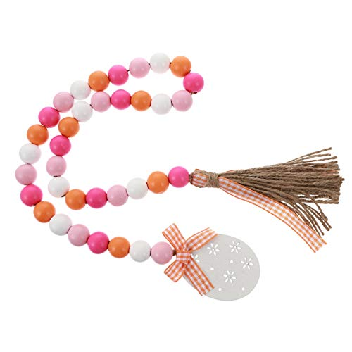 Amosfun Easter Wood Bead Garland with Tassel and Easter Egg Tag Rustic Wood Bead Tassel Banner Spring Tiered Tray Prayer Beads Ornament Wall Art for Easter Party Decoration Gift
