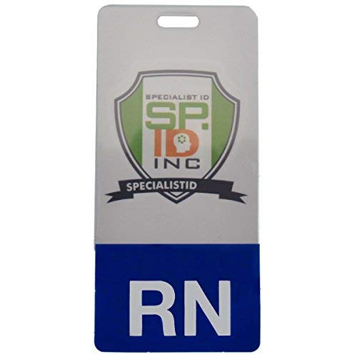 Clear RN Badge Buddy - Vertical - Role Identifier for Registered Nurses with Blue Bottom by Specialist ID, Sold Individually