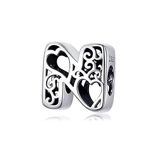 Ciondolo con lettera dell'alfabeto, 100% argento Sterling 925, per braccialetti, collane, regalo di compleanno e Natale
