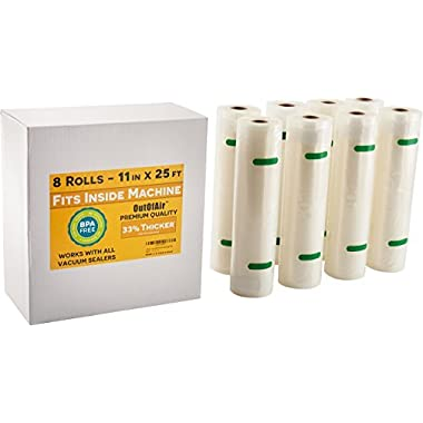 11  x 25' Rolls (Fits Inside Machine) BULK 8 Pack (200 feet total) OutOfAir Vacuum Sealer Rolls for Foodsaver and others 33% Thicker, BPA Free, FDA Approved, Sous Vide, Commercial Grade Bags