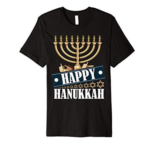 Happy Hanukkah Jweish Menorah Holiday Chanukkah Gift Premium T-Shirt