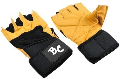 """Deluxe Leder Trainings- und Fitness schwarz / braun – Handschuhe """" The Bat"""" inkl. elastischer Nylon Handgelenksbandagen - 2"""