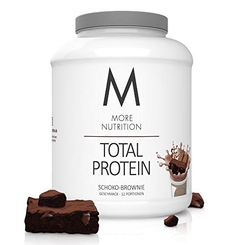 MORE NUTRITION Total Protein Eiweiß-Pulver mit Whey und Casein – 600 g Schoko-Brownie (+ weitere Sorten) - Mit Aminosäuren und Laktase – Anti-Heißhunger, Gewichtsmanagement und Muskelaufbau