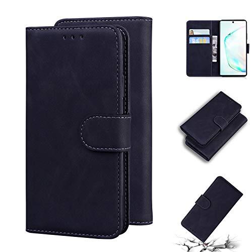 LODROC Galaxy Note 10 Hülle, TPU Lederhülle Magnetische Schutzhülle [Kartenfach] [Standfunktion], Stoßfeste Tasche Kompatibel für Samsung Galaxy Note10 - LOTX0100270 Schwarz