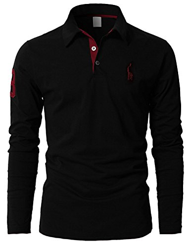 STTLZMC Polos Hombre Mangas Largas Camiseta Algodón Deporte Oficina Botón Cuello