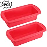 Molde Hornear Rectangular, Silicona para pan - Juego de 2 - BETOY Moldes para hornear antiadherentes de silicona para panes, pasteles y lasaña - 27 * 13 * 6.5CM, color rojo