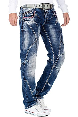 Cipo & Baxx heren jeans denim biker streatwear vrijetijdsbroek clubwear dikke naad streetwear doop swag