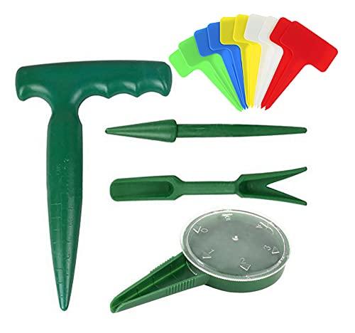 QKTYB - Set di 14 mini attrezzi da giardino per piantine, seminatrici e seminatrici a pistola, quadranti, etichette per piante da giardino, per trapianto