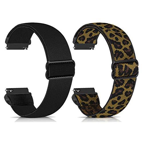 Zoholl Correa de Nailon Compatible con Galaxy Watch 46mm/Gear S3 Frontier/TicWatch Pro, Correa de Reloj Deportiva de Repuesto Suave y Transpirable(22mm Negro+Leopardo)