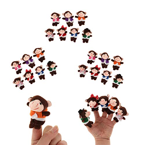 freneci 3 Set / 21pcs Monkeys Finger Puppet Toys Story Telling Cosplay Material Didáctico