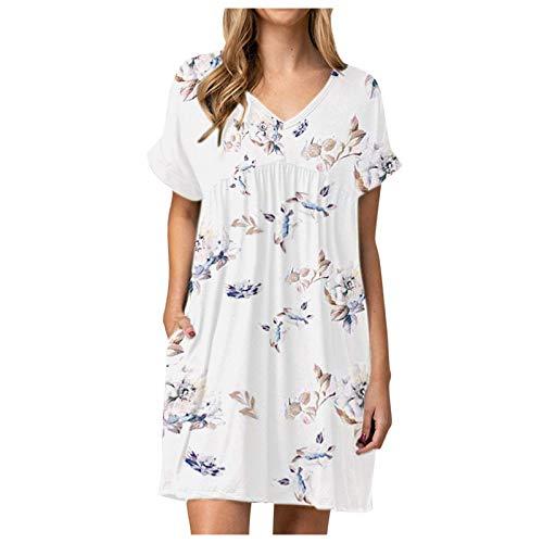 Vestido Casual de Verano con Bolsillo Estampado de Manga Corta de Verano para Mujer(blanco-10,S)
