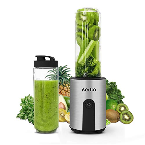 Aeitto Mini Mixer Smoothie Maker, Standmixer Mini Blender mit 2 x 600ml Reise Sport Flaschen BPA-frei Tritan-Trinkflasche