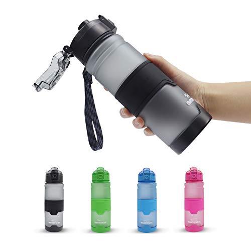 Kslongスポーツボトル プラスチック 水筒 ストロー Tritan 漏れ防止 BPA フリー ウォーターボトル フィルター付き アウトドア 耐高温 目盛り 運動旅行キャンプ用 (グレー, 500ml)