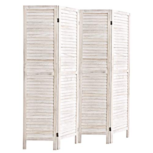 5.6 Ft Tall Wood Louvered Room Divider Solid Wood Folding Room Divider Screens Panel Divider & Room Dividers Room Divider and Folding Privacy Screens For Living Room / Office (4 Panel, White-washed)