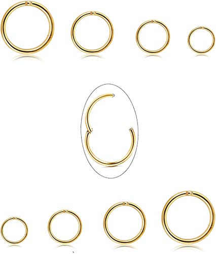 Jstyle 8Pcs 16G Surgical Steel Hinged Clicker Segment Nose Rings Hoop Helix Cartilage Daith Tragus Sleeper Earrings Body Piercing 6-12MM Improved