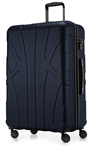 Suitline großer Hartschalen-Koffer Koffer Trolley Rollkoffer XL Reisekoffer, TSA, 76 cm, ca. 96-110 Liter,100% ABS Matt, Dunkelblau