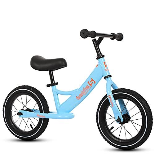 HLEZ Bicicleta Sin Pedales para Niños De +2 Años con Sillín Ajustable En Altura Neumáticos De EVA Carga Juguetes para Niños De 2 A 5 Años Correpasillos para Equilibrio,Azul