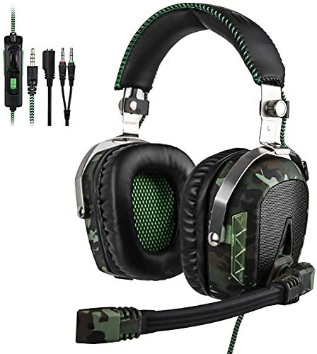 SADES SA926T - Cuffie da gioco per PS4, con microfono, per PS4, Xbox One, PC, Mac, smartphone, colore: verde militare