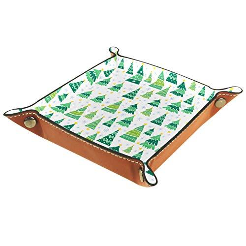 KAMEARI Ledertablett Cartoon Weihnachtsbaum-01 Schlüssel Telefon Münzbox Rindsleder Münzablage Praktische Aufbewahrungsbox