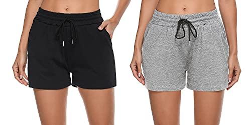 Sykooria Pantalones Cortos Deportivos para Mujer Pantalones Cortos de Pijama Activos Pantalones Cortos de Pijama de algodón Pantalones Cortos de Yoga elásticos Casuales Pantalones