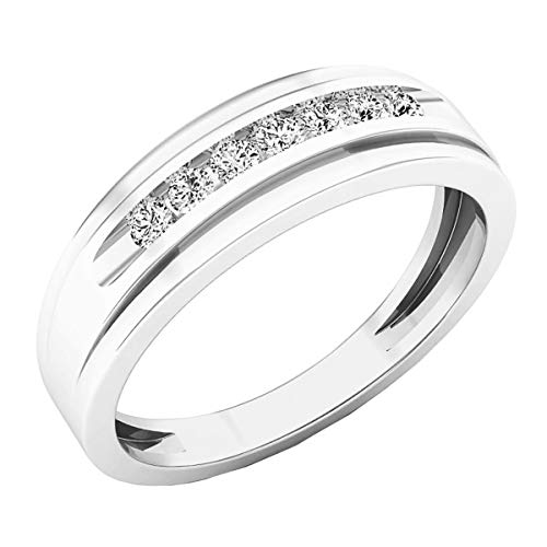 Dazzlingrock Collection 0.25 Carat (ctw) 10K Round White Diamond Mens Wedding Band Ring 1/4 CT, White Gold, Size 10