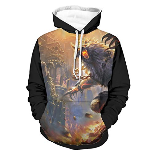 Shinelly Fantasy vikingo Fenrir Wolf Ruines, sudadera con capucha para hombre, cmoda manga larga, con bolsillos, ropa cotidiana blanco L