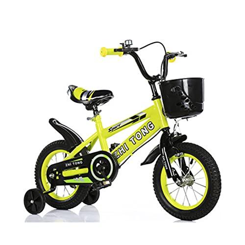 Bicicleta para niños y niñas Freestyle bicicleta 12 14 16 pulgadas con ruedas de entrenamiento, bicicleta infantil (azul, rojo, amarillo) sin asiento trasero, amarillo, 12 pulgadas
