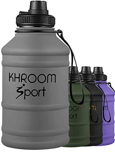 Khroom® XXL Trinkflasche aus Edelstahl | Kohlensäure geeignet | 1.3L - 2L Fitness Flasche für Sport, Gym & Freizeit | BPA frei (Grau, 2.2 Liter)