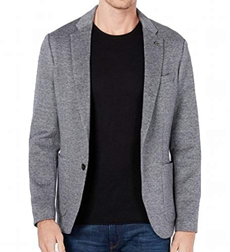 Michael Kors Mens Knit Three Button Blazer Jacket, Grey, 44 Regular