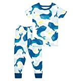 Lamaze Organic Baby Organic Baby/Toddler Girl, Boy, Unisex Tight Fit, Blue Whales, 3T