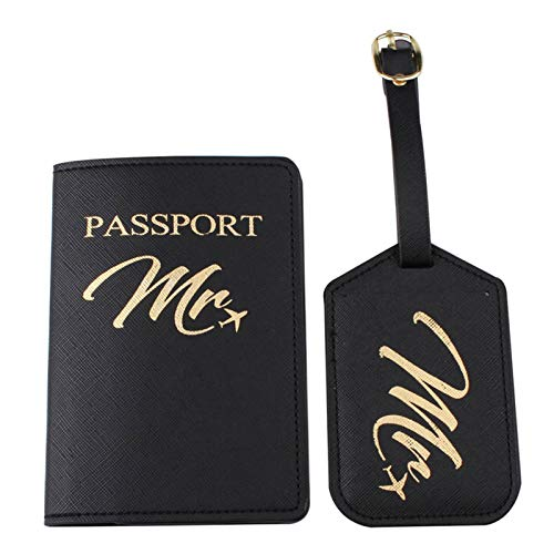 Xzbnwuviei Two-Piece Luggage Tag Passport Bag for Couples,1Set PU Leather Luggage Bag Tag Mr./Mrs. Passport Case Cover for Couples Honeymoon Travel Organizer