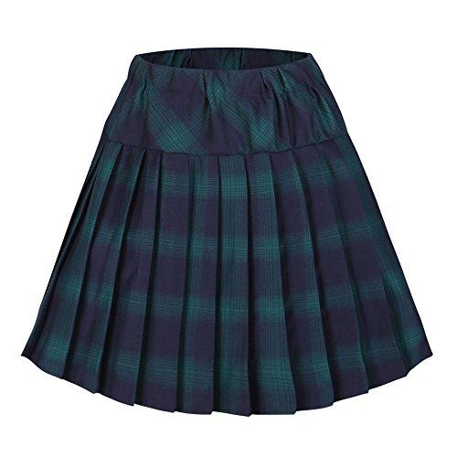 urban GoCo Mujeres Falda Escocesa Plisada con Cintura Elástica Escuela Uniforme Falda Cuadros (2XL, 6 Verde)