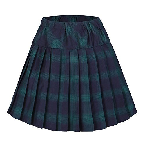 Urbancoco Damen Schulmädchen-Stil Tartan Skater Röcke (S, # 6 grün)