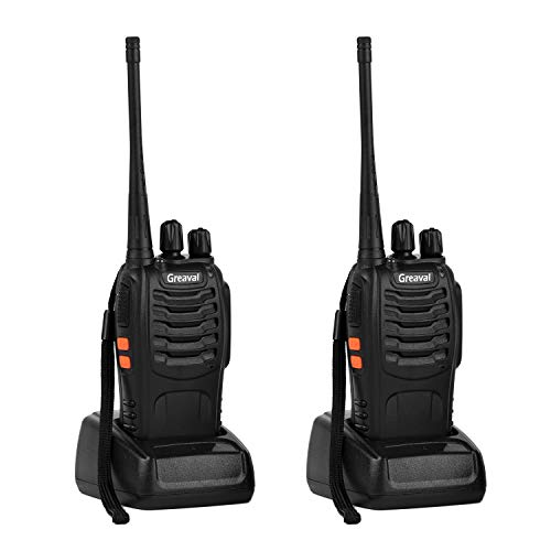 Greaval 2 Way Radio Long Range Walkie Talkie with Earpiece 16-Channel UHF 400-470MHz (Pack of 2)
