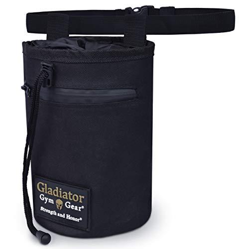 GLADIATOR GYM GEAR Climbing Chalk Bag Drawstring Hand Chalk Bag with Pocket, Brush Loop & Adjustable Belt - Chalk Bag for Rock Climbing & Bouldering, Indoor Climbing, Gymnastics & Lifting
