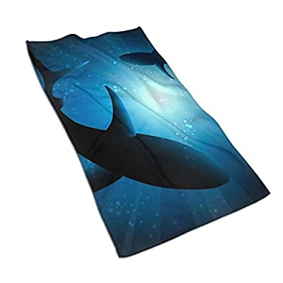 LASWEGA Sharks Under Water Luxury Hand Towels,Ultra Soft & Highly Absorbent Premium Microfiber Bath Towel for Hand,Gym,Beauty,Hair,Spa,and Home Hair Care,27.515.7in