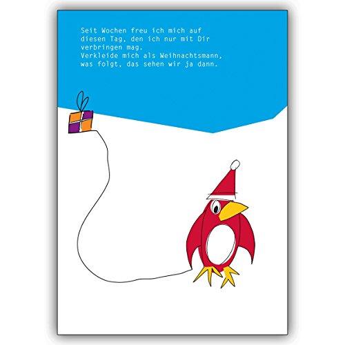 Wenskaarten met hoeveelheidskorting: vrolijke, kerstwenskaart met pinguïn in Nikolaus muts • als kerstwenskaart met envelop voor de verandering van het jaar voor familie en bedrijf 1 Weihnachtskarte