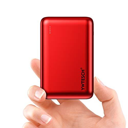 YWTESCH Batería Externa 20000mAh, Power Bank Cargador Portátil, 2 Salida USB-A y 1 Entrada Type-C, Aleación de Aluminio, Mini Powerbank(Rojo) Compatible con iPhone/Huawei/iPad/Android