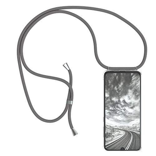 EAZY CASE Handykette kompatibel mit Samsung Galaxy A70 Handyhülle mit Umhängeband, Handykordel mit Schutzhülle, Silikonhülle, Hülle mit Band, Stylische Kette mit Hülle für Smartphone, Anthrazit