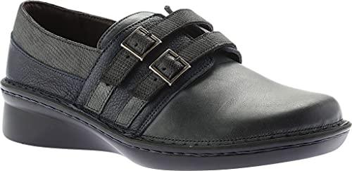 NAOT Footwear Women's Celesta Black Madras Lthr/Oily Coal Nubuck/Vintage Gray Lthr Shoe 11 M US