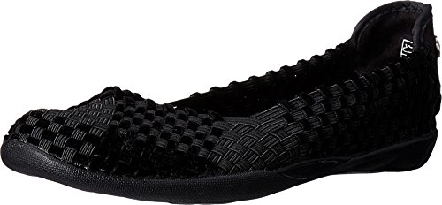 Bernie Mev Women's Braided Catwalk Black Velvet Flats - 9.5 B(M) US