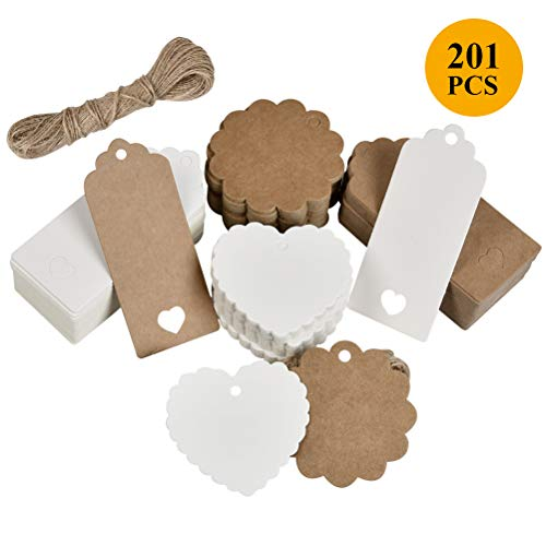 OFMMY Gift Tags, 200Pcs Kraft Paper Tags Gift Labels Rectangle Round Heart Wedding Favour Name Tags Card with 20M String for Luggage Labels and DIY Decor Tags (Brown, White)