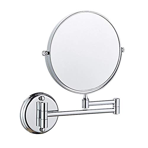8 Pouces Miroir Mural Grossissant x3 Fois Grossissement-Extension Pliant-Rond-Double Face-360 Degrés Rotation Miroir Grossissant Miroir Salle De Bain sans Forage ou avec Le Forage