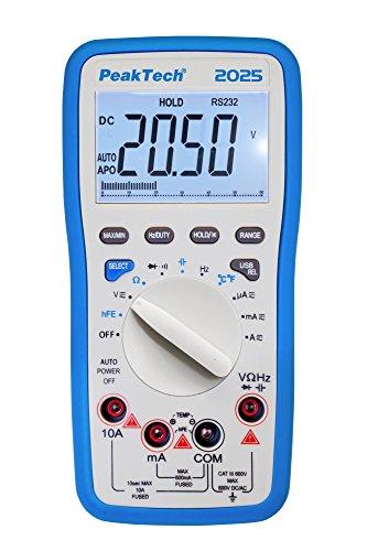 PeakTech 2025 – Digitales Multimeter mit USB, 6000 Counts, Durchgangsprüfer, Autorange, Messgerät, Widerstand, Spannung, Handmultimeter, Elektronisches Strommessgerät, LCD-Anzeige - CAT III 600 V