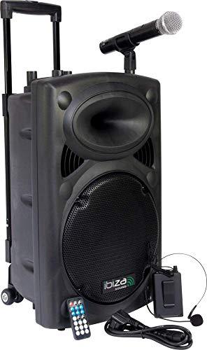 """IBIZA PORT12VHF-BT MOBILE BESCHALLUNGSANLAGE 12\"""" inkl. Mikrofon und Headset PA DJ-Anlage PA-Box Bluetooth Lautsprecher mit Fernebdienung (700W, Akku-Betrieb,USB/SD, Radio)"""