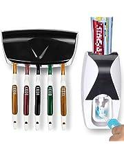 OMZGXGOD - Dispensador de Pasta de Dientes Automático y Portacepillos de Dientes – Práctico Set de Baño Familiar con Soporte de Cepillos de Dientes y Dosificador de Pasta Dental