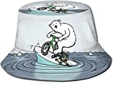 BONRI Cappelli a Secchiello Traspiranti a Forma Piatta Cappello Unisex a Secchiello con Torta Dolce alla Ciliegia Cappello Estivo da Pescatore-Cartone Animato Orso Polare Modello Bici-Taglia Unica