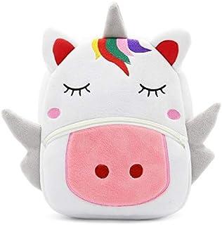 Unicorn Plush Backpack for Kids, Toddler Animal Cartoon Bag, Children Fluffy Toys Food Knapsack for Preschool, Outdoor Play