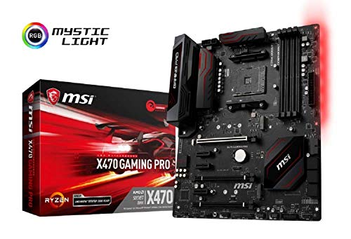 MSI X470 GAMING PRO, AM4, 4 Dimm DDR4-3466MHz+(OC),2x Turbo M.2, DDR4(Steel Armor)/Core/X-Boost, 4x 8 Pin Power supply, Mystic Light, HDMI,DVI-D, ATX